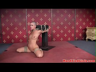 Flexible bdsm sub with shaved head toyed