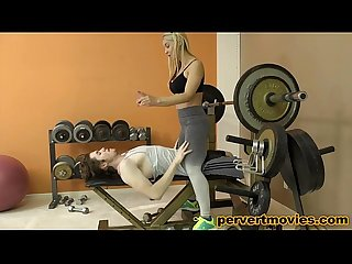 Busty blonde personaltrainer fucked by young guy