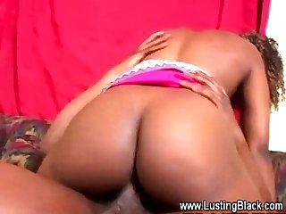 Dirty black guy goes down on ebony sluts wet pussy