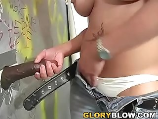 Frankie sucks and fucks black dick in a public place