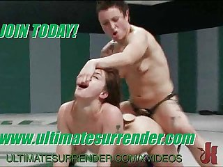 Naked wrestling chicks get fucked and used