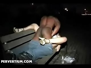 White wife fucks with black stranger in public