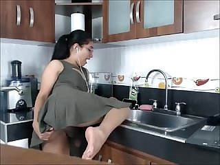 Transsexual angel jerking off in the kitchen