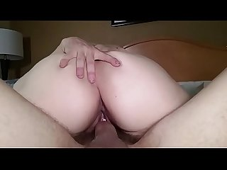 Husband films his sexy milf wife as she rides a good friend's big white cock. She cums so..