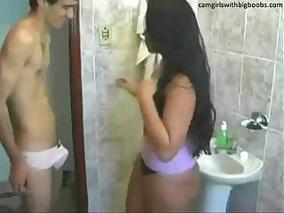 Step brother sister live sex on bathroom found them on camgirlswithbigboobs com