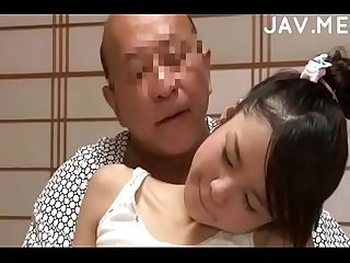 Delicious japanese girl with natural tits surprises old man