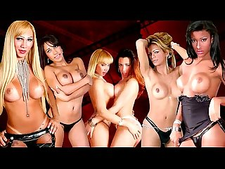 Four dolls with balls in black stockings ride hard shecocks