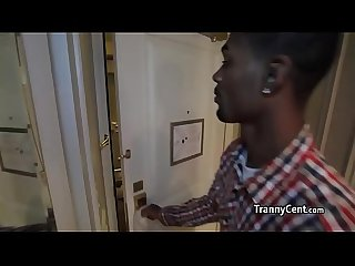 Black guy loves tranny ass fucking