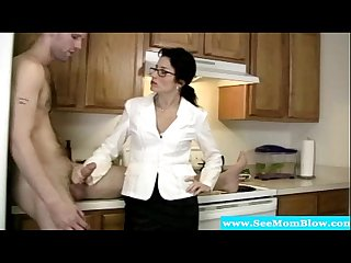 Classy mature milf wanks and sucks dude