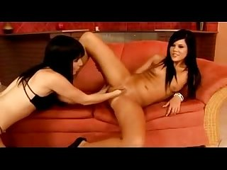 Hot Black Haired Girl On High Heels Getting Her Pussy Fisted By Her Gf On The Couch