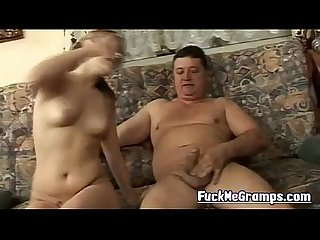 Grandpa tasting young pussy