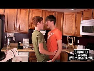 Twinks are home alone and make out while undressing