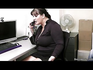 Hot office fuck with busty lady