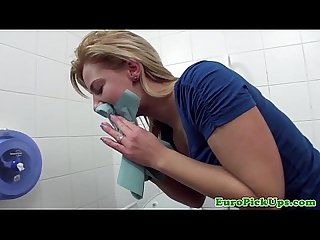 Real euro girlnextdoor gets a mouthful of cum