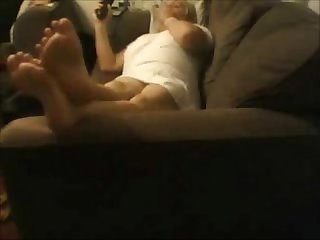 Hidden cam caught my mum home alone masturbating watching tv