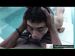 Guy sucking black cock in swimmingpool by guydestroyed