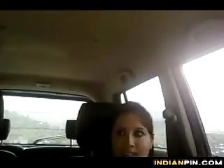Pretty indian sucking cock in the car