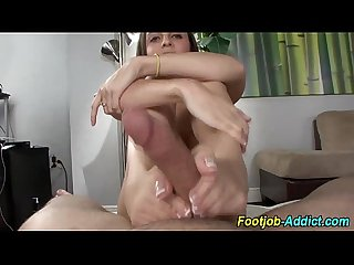 Handjob and footjob ending in cumshot
