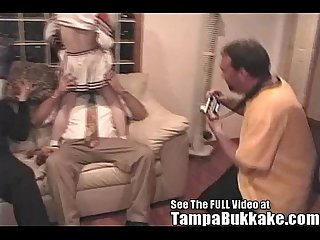 Bisexual britni gets a tampa bukkake cheerleader bang
