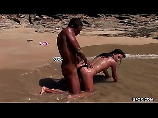 Fucking on the beach with a black dude S rock hard cock