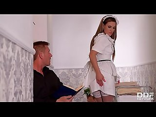 Lucky fucka gets a double blowjob by his wife a maid