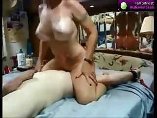 Amateur wife riding face dildo on Webcam