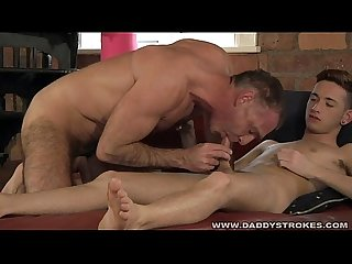 Daddy and lad massage and suck