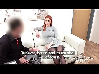 Ample ass redhead fucks fake agent