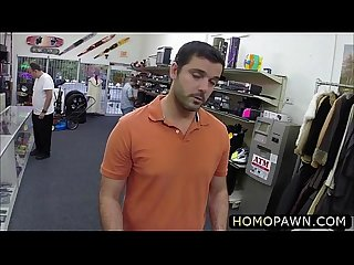 Innocent hot Military dude sucked two monster dick in the pawnshop