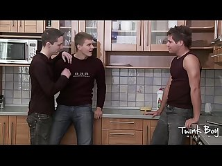 Twink boy media kitchen twink threesome