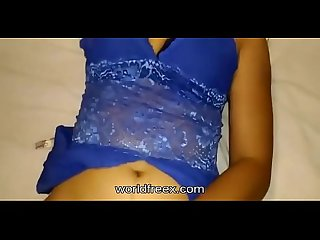 Desi wife teasing and masturbating in blue lingerie
