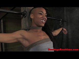Ebony bdsm sub Nikki Darling tied up
