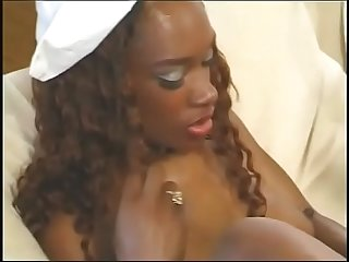 Cute nurse Black Cat gets her tight ass drilled by a black hunk on the sofa