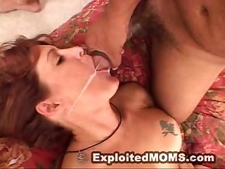 Hot mom takes on a big black cock in her mature pussy in milf big tits video