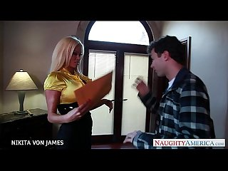 Salacious blonde nikita von james ride a big cock
