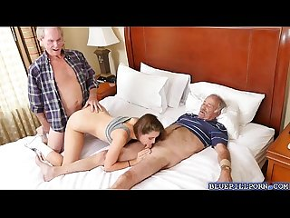 Colllege babe naomi Alice fucks two old men dicks