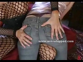 Submissive blonde has her ass whipped
