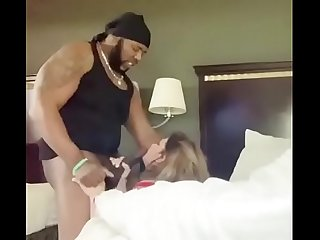 White Slut getting throat fucked by Daddy�s HUGE black dick!!