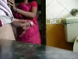 Caught jerking by my maid she is interested