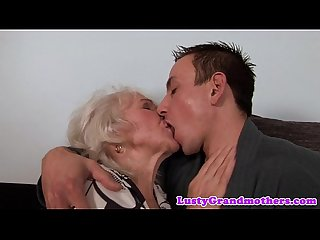 Euro granny gets pussy fucked and jizzed on