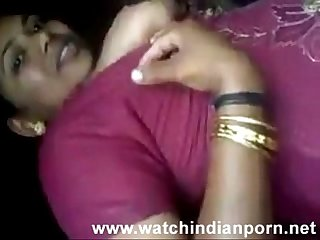 Desi randi is kissing her lover and lets him suck and lick her boobs - Watch Indian..
