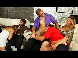 Guys and girls sucking cock at hot bi party