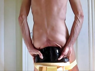 Panties down double ass fuck huge black cock dildos