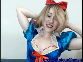 Asian girl in snow white costume puts dildo in her pussy and spanks herself on webcam freeamateurc