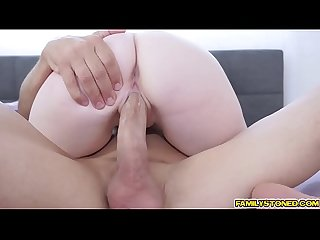 Rich feeds Karlie Brooks deep throat with his large cock