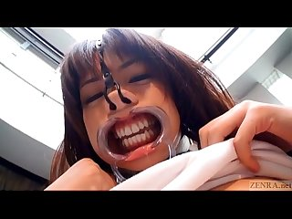 Subtitled weird japanese face destruction shaved schoolgirl