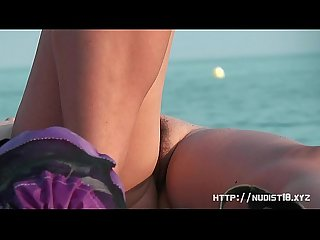 Girl with nice boobs on the beach espana voyeur video