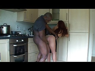 cheating brunette fucked in kitchen by her black lover