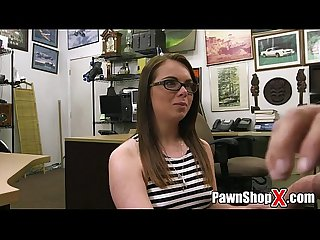 White nerd in glasses trades her ass for cash in pawn shop xxxpawn porno xp14236