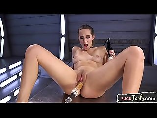 Anally drilled babe pleasured by huge dildo